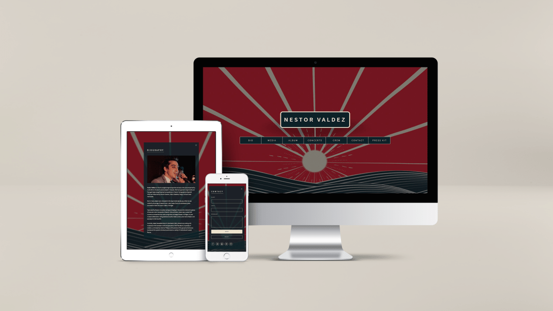 Picture of the website design for Nestor Valdez. Created by Musicos Productions