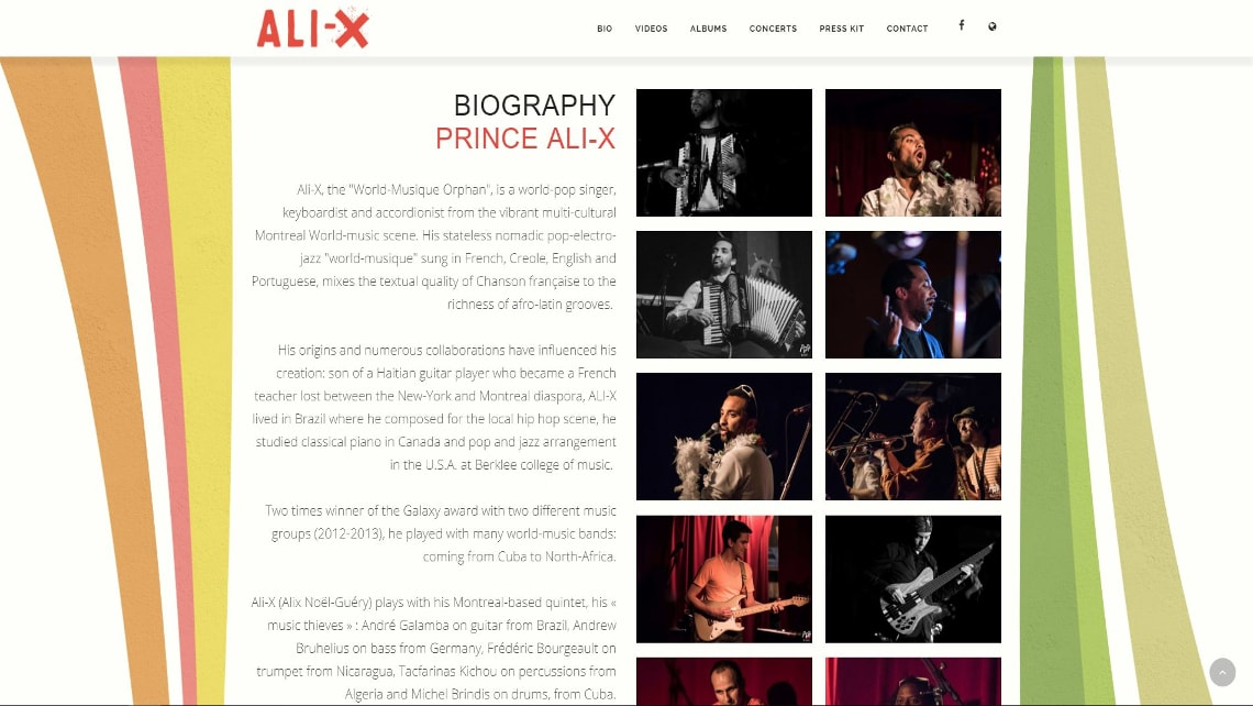 Picture of the website design for Prince Ali-X and his Ambassadors. Created by Musicos Productions